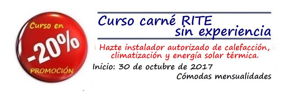 Nuevo inicio curso RITE (Instalaciones Térmicas en Edificio) programado para el próximo día 30 de octubre